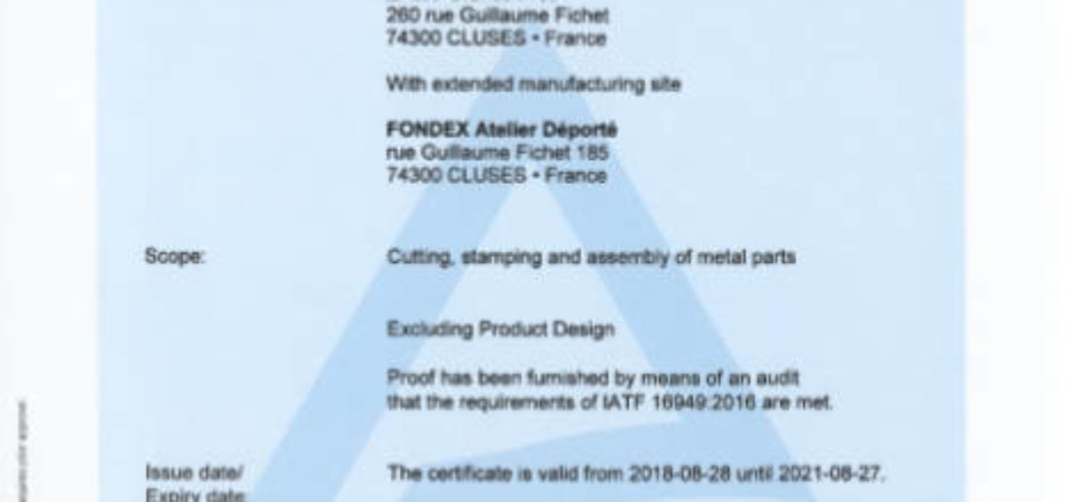 certificate cutting stamping assembly metal parts IATF 2018