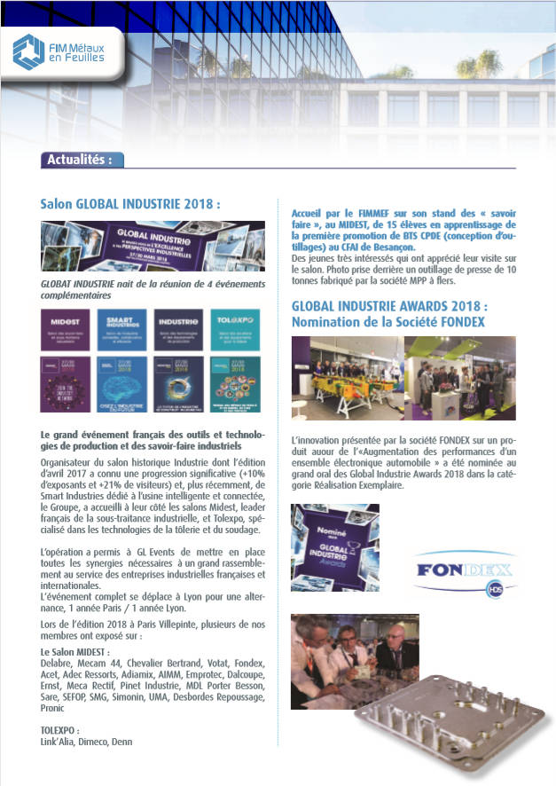 Article FONDEX Global Indsutrie newsletter FIMMEF