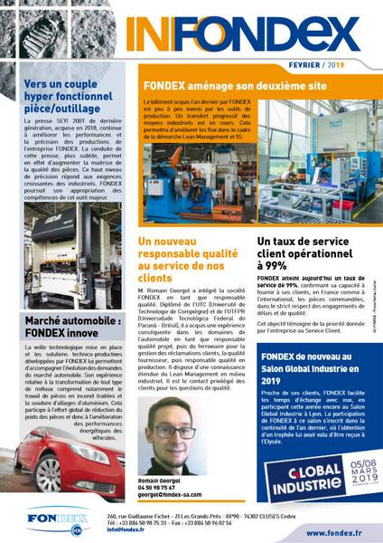 Newsletter FONDEX Février 2019